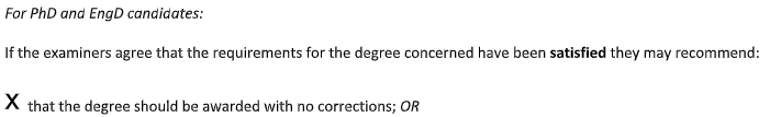 Section of Ph.D report showing that the examiners recommend the degree be awarded with no corrections.